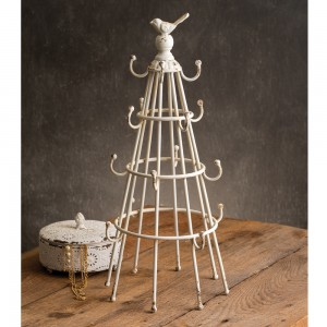 White Bottle Drying Rack with Bird
