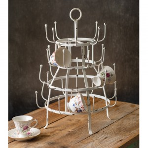 White Bottle Drying Rack with Handle