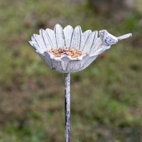White Daisy Bird Feeder Garden Stake