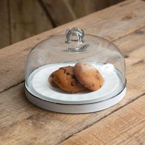 White Dessert Cloche With Base