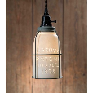 White Half Gallon Caged Mason Jar Pendant Light - Barn Roof Lid