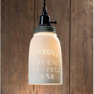 White Half Gallon Mason Jar Pendant Light - Barn Roof Lid