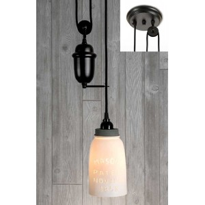 White Half Gallon Mason Jar Pulldown Pendant Light - Barn Roof Lid