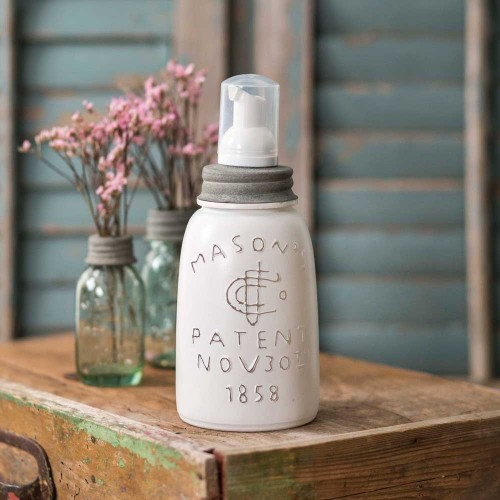 White Midget Pint Mason Jar Foaming Soap Dispenser