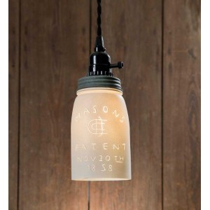 White Quart Mason Jar Pendant Light - Barn Roof Lid
