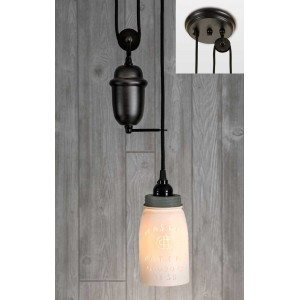 White Quart Mason Jar Pulldown Pendant Light - Barn Roof Lid