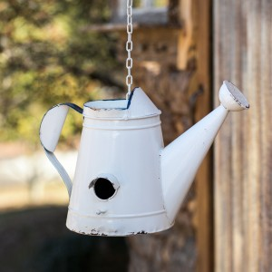 White Watering Can Birdhouse