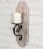 White Wood Pillar Candle Sconce