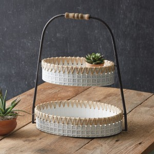 Whitewash Metal and Cane Two-Tier Bin