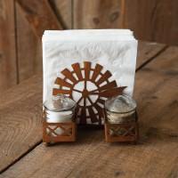 Windmill & Silo Salt Pepper and Napkin Caddy