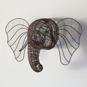 Wire Elephant Wall Mount Head