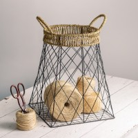 Wire Storage Basket with Jute Handles