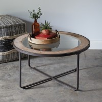 Wood and Glass Industrial Coffee Table