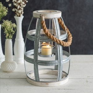 Wood and Metal Caged Lantern