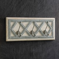 Wood and Metal Diamond Pattern Coat Rack