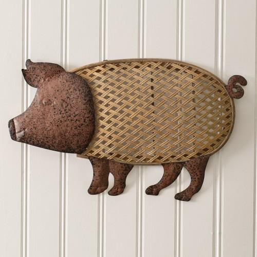 Wood and Metal Pig Wall Decor