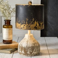 Wood Base Tabletop Lamp with Metal Shade