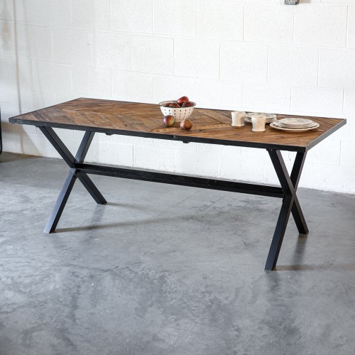 Wood Top Metal Frame Dining Table