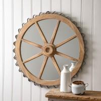 Wood Wheel Wall Mirror
