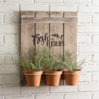 Wooden Fresh Herbs Sign with Three Pots