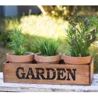 Wooden Garden Caddy with Three Pots