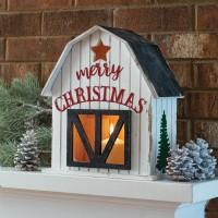 Wooden Holiday Barn Lantern