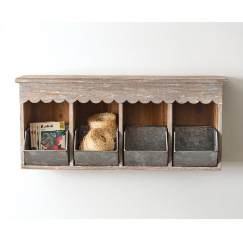 Wooden Wall Organizer with Four Pockets