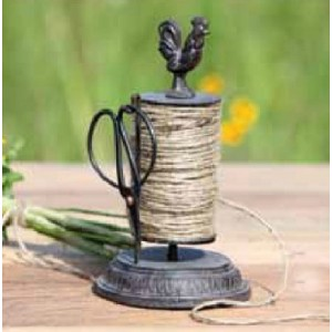 Wrought Iron Rooster Twine Holder with Scissors