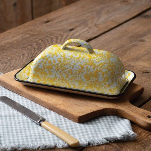 Yellow Speckled Enamelware Butter Dish