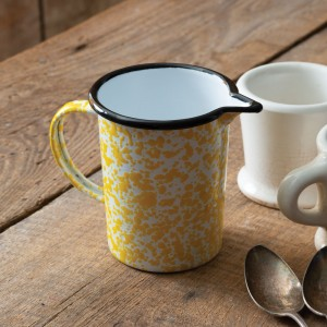 Yellow Speckled Enamelware Creamer Cup