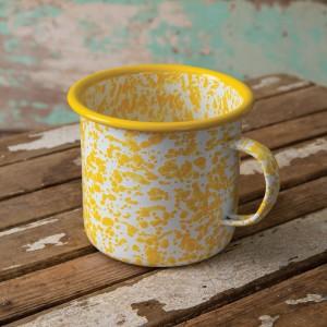 Yellow Speckled Enamelware Mug