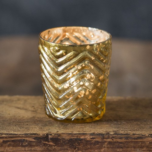 Zigzag Mercury Glass Votive Holder